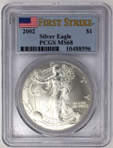 United States: 2002 American Silver Eagle First Strike PCGS MS68