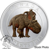 Canada: 2012 25 Cents Pachyrhinosaurus Lakustai Dinosaur Glow in the Dark Coin