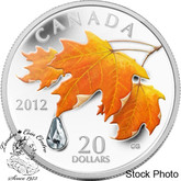 Canada: 2012 $20 Sugar Maple Crystal Raindrop Pure Silver Coin