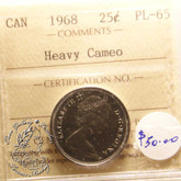 Canada: 1968 25 Cents ICCS PL65 Heavy Cameo Coin