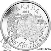 Canada: 2014 $100 Majestic Maple Leaves Silver Coin