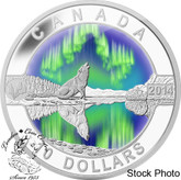 Canada: 2014 $10 O Canada Northern Lights Howling Wolf Coloured Silver Coin