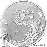 Canada: 2012 $10 Dragon 1/2 oz Pure Silver Coin