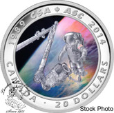 Canada: 2014 $20 25th Anniversary of the Canadian Space Agency Coloured Silver Coin