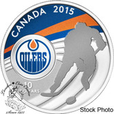 Canada: 2015 $10 Edmonton Oilers NHL Hockey Silver Coin