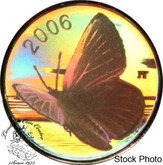 Canada: 2006 50 Cents Silvery Blue Butterfly Hologram Silver Coin
