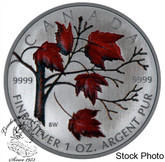 Canada: 2004 $5 Red Coloured Silver Maple Leaf Winter
