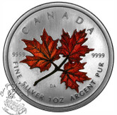 Canada: 2001 $5 Orange Coloured Silver Maple Leaf Autumn