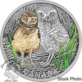 Canada: 2015 $20 Baby Animals: Burrowing Owl Coloured Silver Coin