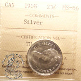 Canada: 1968 25 Cents Silver ICCS MS66 Coin