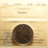 Canada: 1969 25 Cents ICCS MS65 Cameo Coin