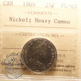 Canada: 1969 25 Cents Nickel ICCS PL65 Heavy Cameo Coin