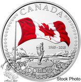 Canada: 2015 $1 Canadian Flag Red & White Coloured Pure Silver Coin