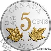 Canada: 2015 5 Cent Legacy of the Canadian Nickel: The Two Maple Leaves Silver Coin