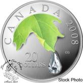 Canada: 2008 $20 Crystal Raindrop Silver Coin