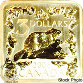 Canada: 2006 $3 Beaver Gold Plated Silver Square Coin