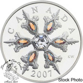 Canada: 2007 $20 Iridescent Crystal Snowflake Sterling Silver Coin