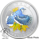 Canada: 2010 25 Cents Blue Jay Coloured Coin