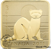 Canada: 2011 $3 Black Footed Ferret Square Sterling Silver Gold Plated Coin