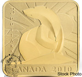 Canada: 2010 $3 Polar Bear Square Sterling Silver Gold Plated Coin