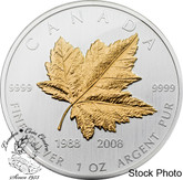 Canada: 2008 $5 20th Anniversary Maple Leaf Silver Coin