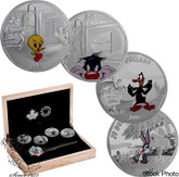 !Blowout! Canada: 2015 $20 Fine Silver 4-Coin Set Looney Tunes™ BUGS BUNNY TWEETY SYLVESTER