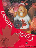 Canada: 2005 25 Cent with Beaver Canada Day Coloured Coin in Folder