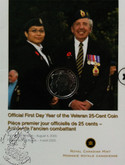 Canada: 2005 25 Cent Year of the Veteran First Day of Mintage Coin