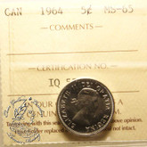 Canada: 1964 5 Cents ICCS MS65 Coin