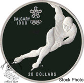Canada: 1985 $20 Calgary Olympic Winter Games Speed Skating Silver Coin in Clamshell