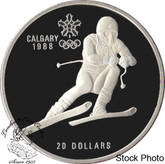 Canada: 1985 $20 Calgary Olympic Winter Games Downhill Skiiing Silver Coin
