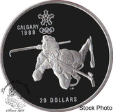 Canada: 1986 $20 Calgary Olympic Winter Games Biathlon Silver Coin
