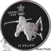 Canada: 1986 $20 Calgary Olympic Winter Games Biathlon Silver Coin