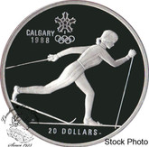 Canada: 1986 $20 Calgary Olympic Winter Games Cross-Country Skiing Silver Coin