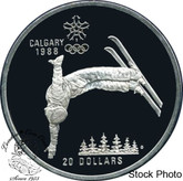 Canada: 1986 $20 Calgary Olympic Winter Games Free-Style Skiing Silver Coin
