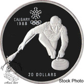 Canada: 1987 $20 Calgary Olympic Winter Games Curling Silver Coin