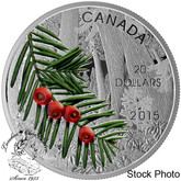 Canada: 2015 $20 Forests of Canada: Columbian Yew Tree Silver Coin