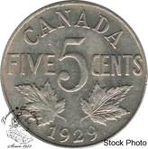 Canada: 1929 5 Cent Near Rim EF40