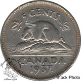 Canada: 1937 5 Cent Dot CIRCULATED