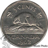 Canada: 1962 5 Cent Doubled Date  EF40