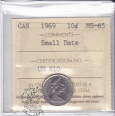Canada: 1969 10 Cents ICCS MS65 Small Date Coin nr 3