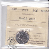 Canada: 1969 10 Cents ICCS MS65 Small Date Coin nr 4