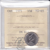 Canada: 1971 10 Cents ICCS MS65 Coin nr 1