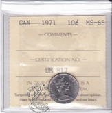 Canada: 1971 10 Cent ICCS MS65 Coin nr 2
