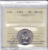 Canada: 1964 5 Cents ICCS MS65 Coin nr 6
