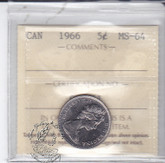 Canada: 1966 5 Cents ICCS MS64 Coin nr 2