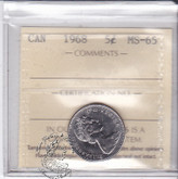Canada: 1968 5 Cents ICCS MS65 Coin nr 3