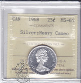 Canada: 1968 Silver 25 Cents ICCS MS65 Heavy Cameo Coin nr 1