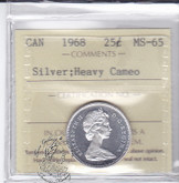 Canada: 1968 Silver 25 Cents ICCS MS65 Heavy Cameo Coin nr 2