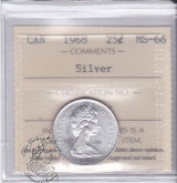 Canada: 1968 Silver 25 Cents ICCS MS66 Coin nr 3